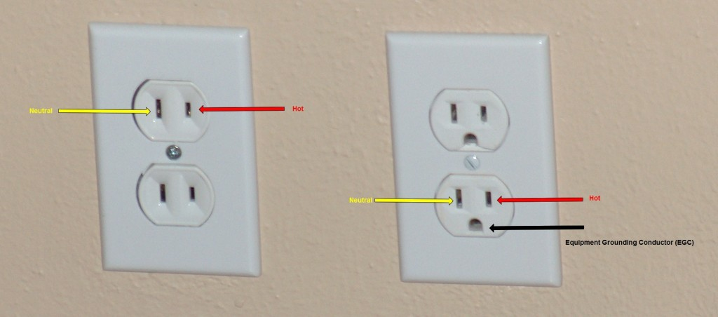 Two prong outlet next to three prong outlet