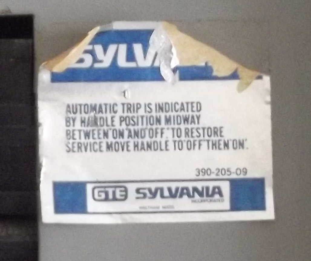 GTE-Sylvania electrical panel blue foil label.