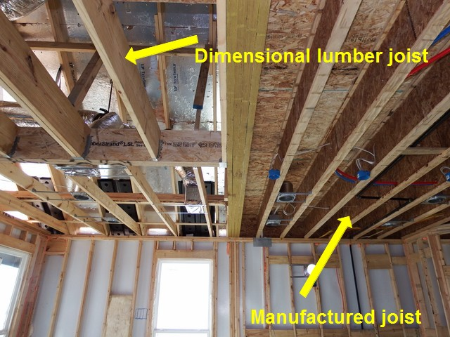 Example manufactured joist and dimensional lumber joist