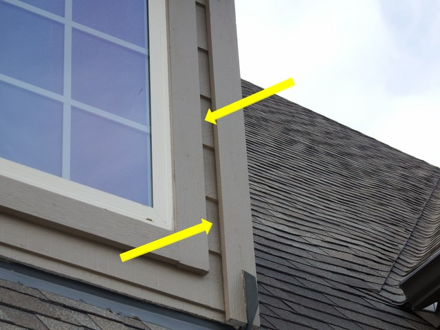 Siding to trim joints not sealed.