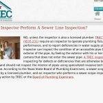 sewer scoping Texas Real Estate Commission plumber